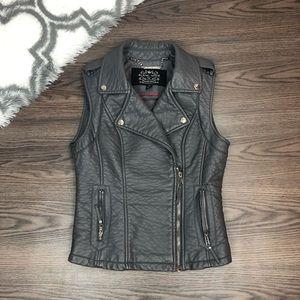 Blanc Noir Vegan Leather Vest Size Small